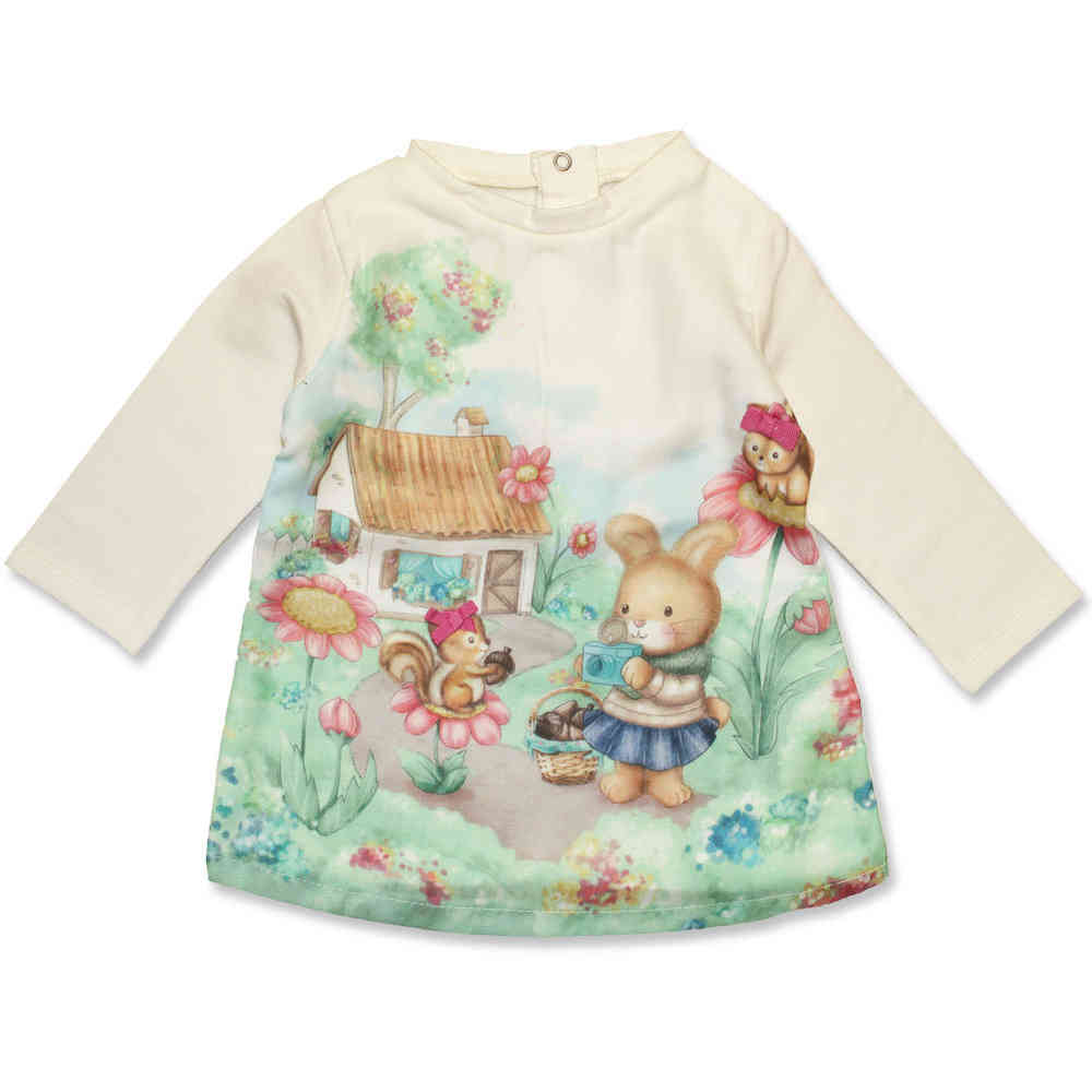 new arrival e5821 fa3c6 Mayoral Baby Kleid Hase serigraphie creme-Winter 2015