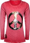 Blue Effect Shirt Peace Wendepailletten feuerrot