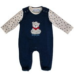 Salt and Pepper Strampler Teddy navy blue