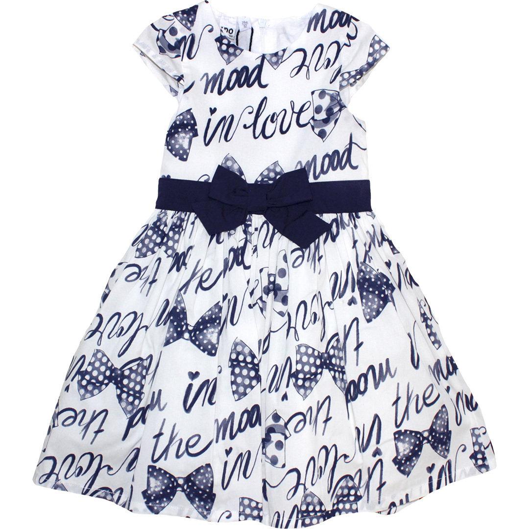ido festliches kleid mit letterprint cream-blau