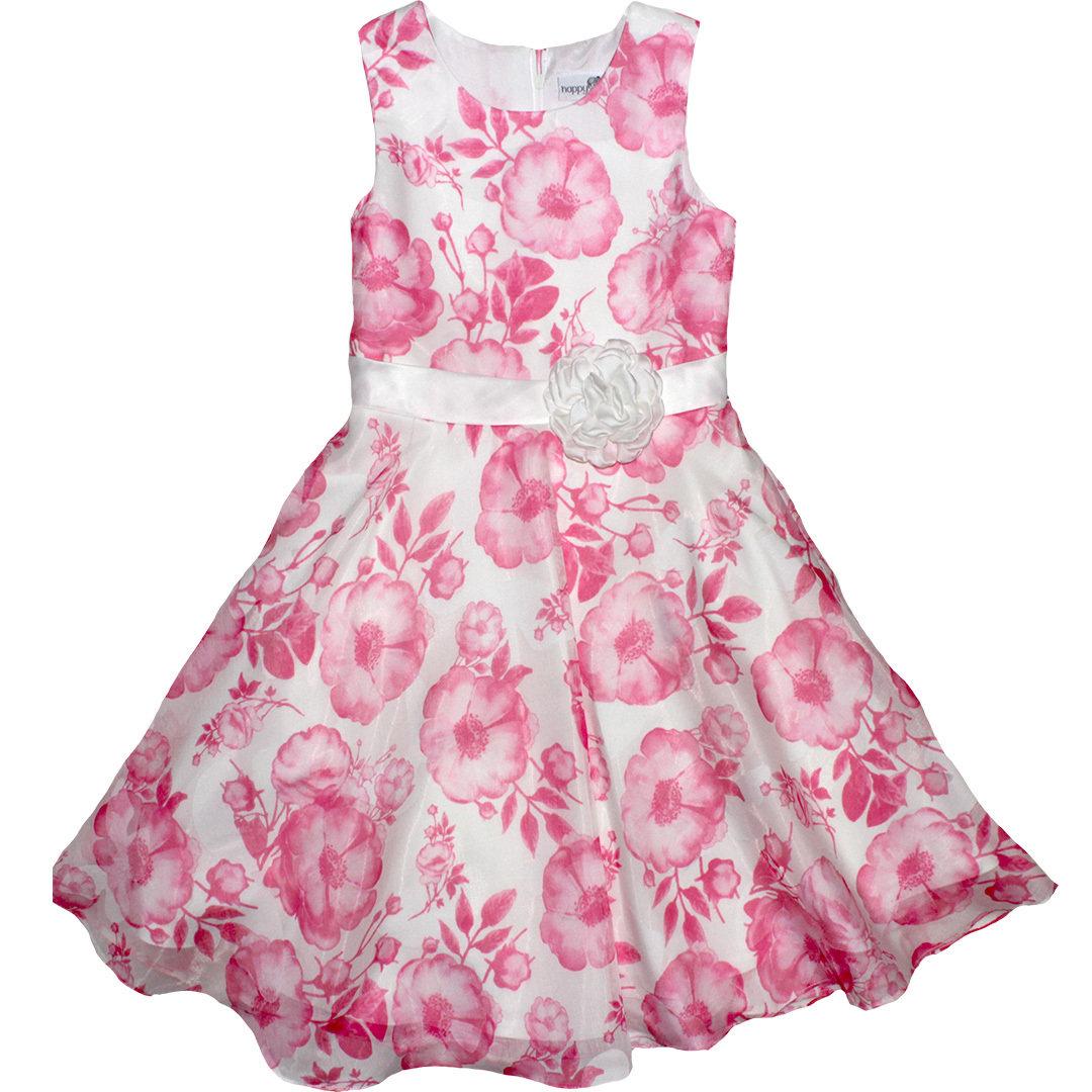 happ girls festliches kleid blüten weiß pink